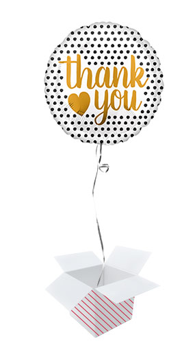 Gold Thank You Modern Dots Round Foil Helium Balloon - Inflated Balloon in a Box