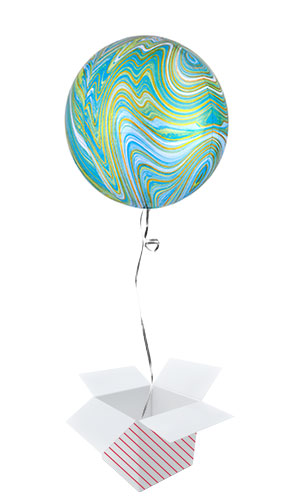 Green Marblez Orbz Foil Helium Balloon - Inflated Balloon in a Box
