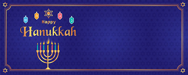 Happy Hanukkah Golden Menorah Candles Design Small Personalised Banner – 4ft x 2ft