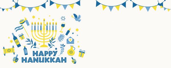 Happy Hanukkah Buntings Design Medium Personalised Banner – 6ft x 2.25ft