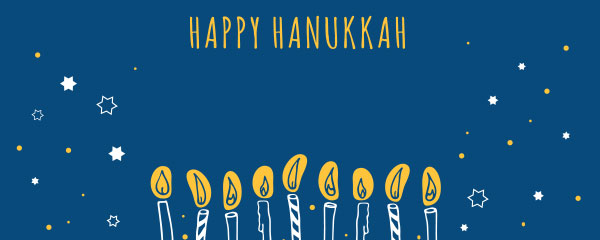Happy Hanukkah Candles And Stars Design Medium Personalised Banner – 6ft x 2.25ft