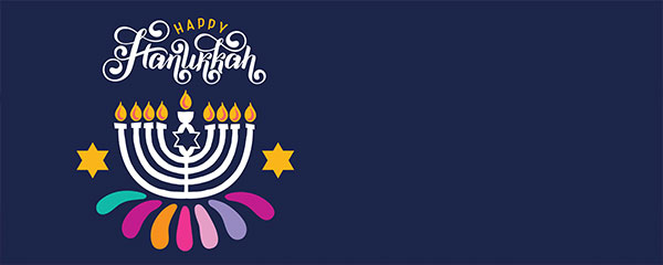 Happy Hanukkah White Menorah Candles Design Small Personalised Banner – 4ft x 2ft