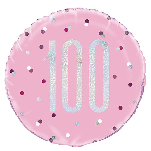 Pink Glitz Age 100 Holographic Round Foil Helium Balloon 46cm / 18 in