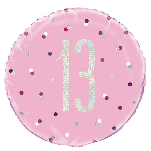 Pink Glitz Age 13 Holographic Round Foil Helium Balloon 46cm / 18 in Product Image