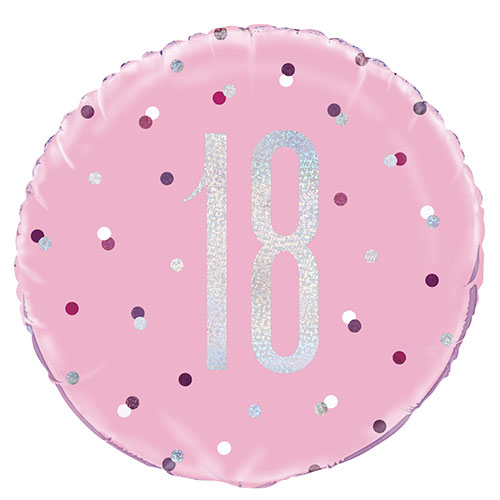 Pink Glitz Age 18 Holographic Round Foil Helium Balloon 46cm / 18 in