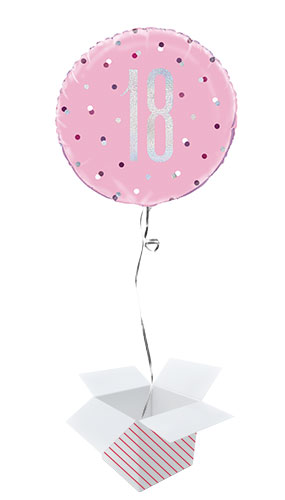 Pink Glitz Age 18 Holographic Round Foil Helium Balloon - Inflated Balloon in a Box