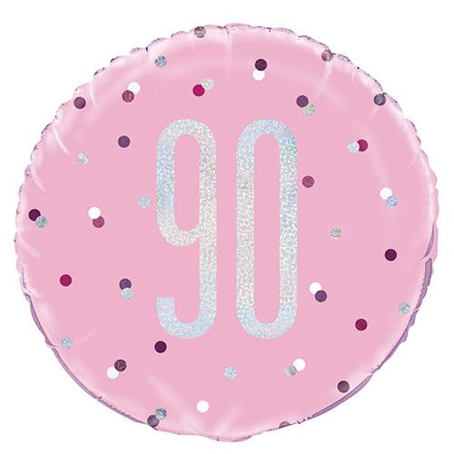 Pink Glitz Age 90 Holographic Round Foil Helium Balloon 46cm / 18 in