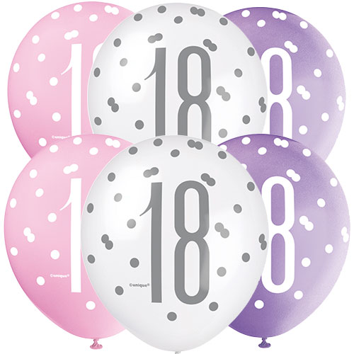 Pink Glitz Age 18 Assorted Biodegradable Latex Balloons 30cm / 12 in - Pack of 6