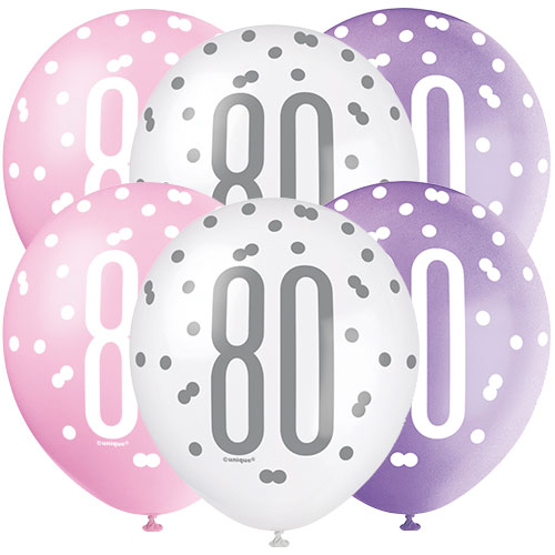 Pink Glitz Age 80 Assorted Biodegradable Latex Balloons 30cm / 12 in - Pack of 6