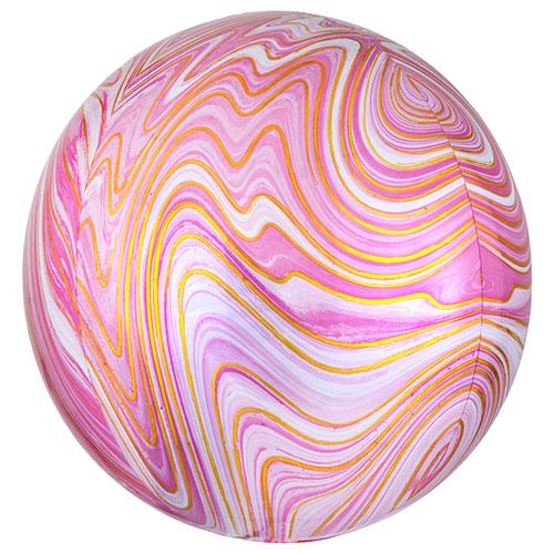 Pink Marblez Orbz Foil Helium Balloon 38cm / 15 in