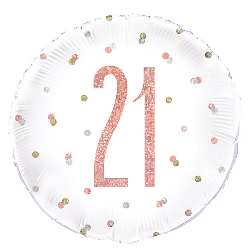"""18/""""  FOIL BALLOON 21 HAPPY BIRTHDAY AGE 21 21ST BIRTHDAY HOLOGRAPHIC ROSE GOLD"""