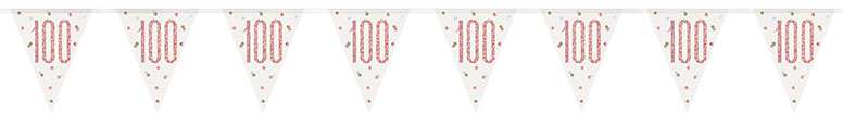 Rose Gold Glitz Age 100 Holographic Foil Pennant Bunting 274cm