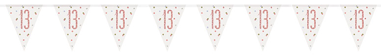 Rose Gold Glitz Age 13 Holographic Foil Pennant Bunting 274cm