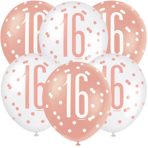 Rose Gold Glitz Age 16 Assorted Biodegradable Latex Balloons 30cm / 12 in - Pack of 6