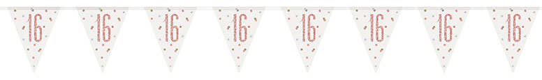 Rose Gold Glitz Age 16 Holographic Foil Pennant Bunting 274cm
