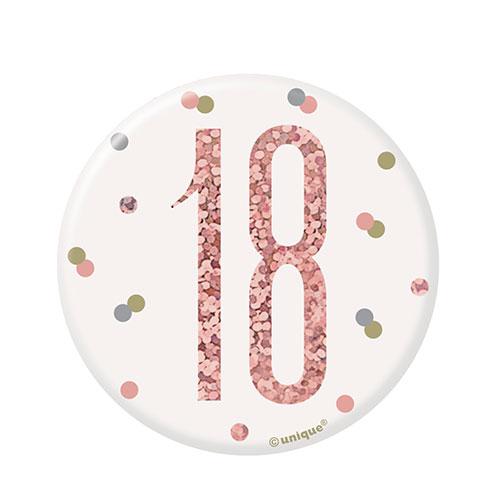 Rose Gold Glitz Age 18 Holographic Birthday Badge 7cm