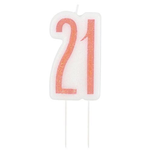 Rose Gold Glitz Age 21 Birthday Candle 9cm