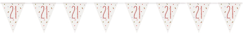 Rose Gold Glitz Age 21 Holographic Foil Pennant Bunting 274cm