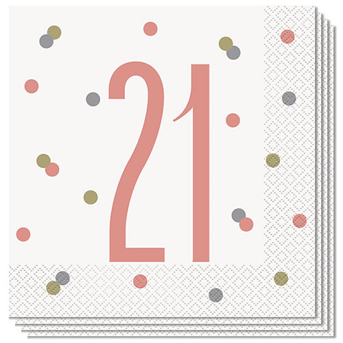 Rose Gold Glitz Age 21 Luncheon Napkins 33cm 2Ply - Pack of 16