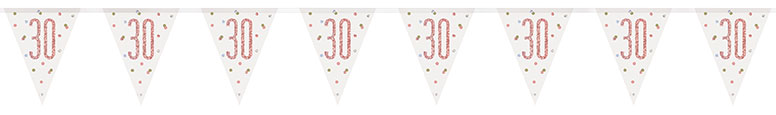 Rose Gold Glitz Age 30 Holographic Foil Pennant Bunting 274cm