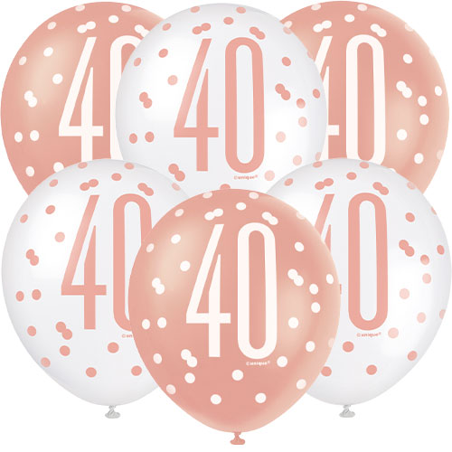 Rose Gold Glitz Age 40 Assorted Biodegradable Latex Balloons 30cm / 12 in - Pack of 6 Product Image