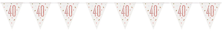 Rose Gold Glitz Age 40 Holographic Foil Pennant Bunting 274cm