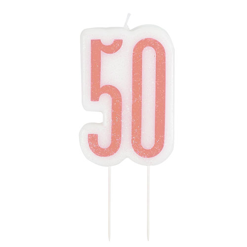 Rose Gold Glitz Age 50 Birthday Candle 9cm