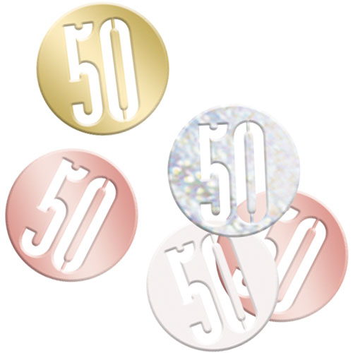 Rose Gold Glitz Age 50 Holographic Assorted Table Confetti 14 Grams