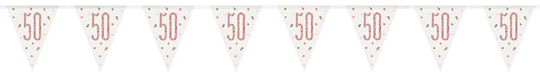 Rose Gold Glitz Age 50 Holographic Foil Pennant Bunting 274cm