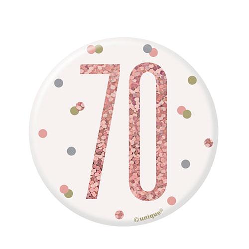 Rose Gold Glitz Age 70 Holographic Birthday Badge 7cm