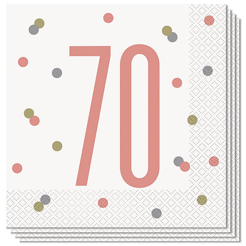 Rose Gold Glitz Age 70 Luncheon Napkins 33cm 2Ply - Pack of 16
