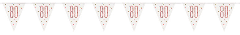 Rose Gold Glitz Age 80 Holographic Foil Pennant Bunting 274cm