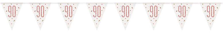 Rose Gold Glitz Age 90 Holographic Foil Pennant Bunting 274cm