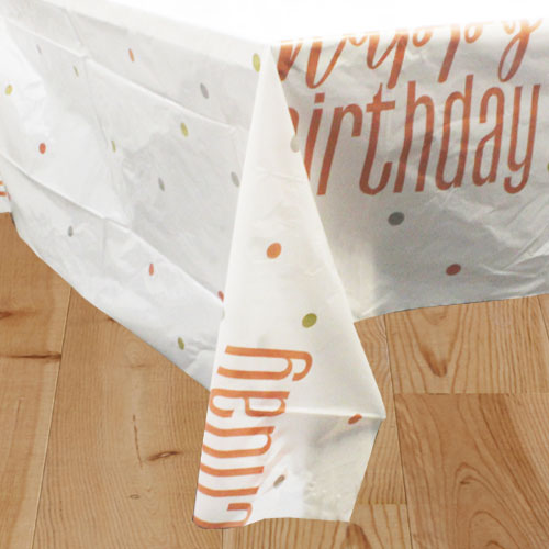 Rose Gold Glitz Birthday Plastic Tablecover 213cm x 137cm