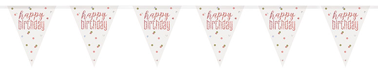 Rose Gold Glitz Happy Birthday Holographic Foil Pennant Bunting 274cm