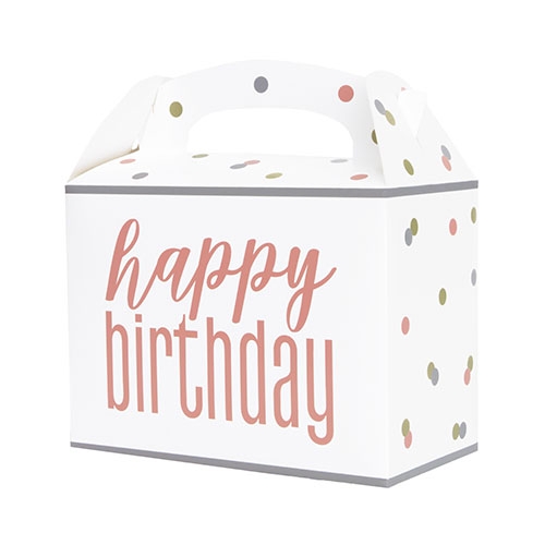 Rose Gold Glitz Happy Birthday Paper Party Box - Pack of 6