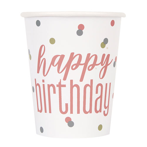 Rose Gold Glitz Holographic Birthday Paper Cups 270ml - Pack of 8