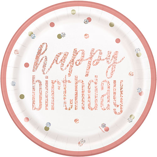 Rose Gold Glitz Holographic Birthday Round Paper Plates 22cm - Pack of 8