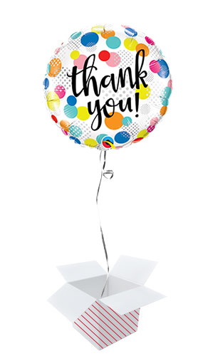 Thank You Dots Round Foil Helium Qualatex Balloon - Inflated Balloon in a Box