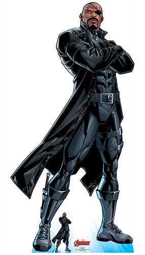 Avengers Comics Nick Fury Long Black Coat Lifesize Cardboard Cutout 191cm