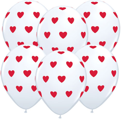 Valentine's Day Hearts White Latex Helium Qualatex Balloons 28cm / 11 in - Pack of 6