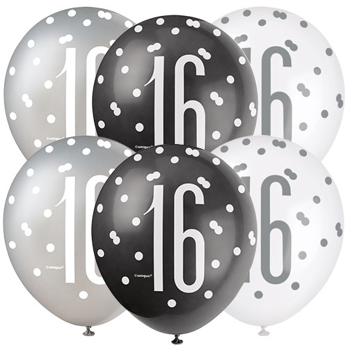 Black Glitz Age 16 Assorted Biodegradable Latex Balloons 30cm / 12 in - Pack of 6