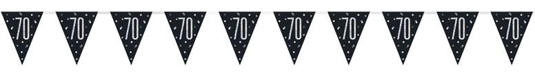 Black Glitz Age 70 Holographic Foil Pennant Bunting 274cm