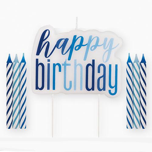 Blue Glitz Happy Birthday Candle Set