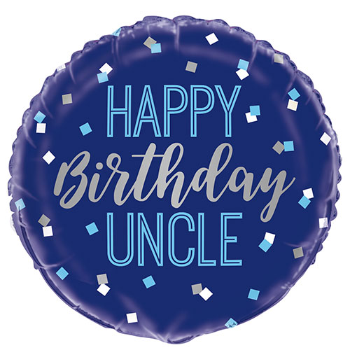 Happy Birthday Uncle Round Foil Helium Balloon 46cm / 18 in