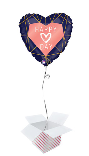 Happy Love Day Geo Navy Heart Shape Holographic Valentine's Foil Helium Balloon - Inflated Balloon in a Box