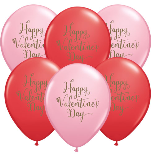 Happy Valentine's Day Assorted Latex Helium Qualatex Balloons 28cm / 11 in - Pack of 10