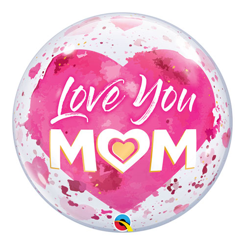 Love You Mom Pink Heart Bubble Helium Qualatex Balloon 56cm / 22 in