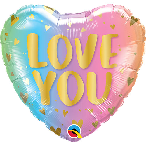 Love You Ombre Valentine's Day Foil Helium Qualatex Balloon 46cm / 18 in