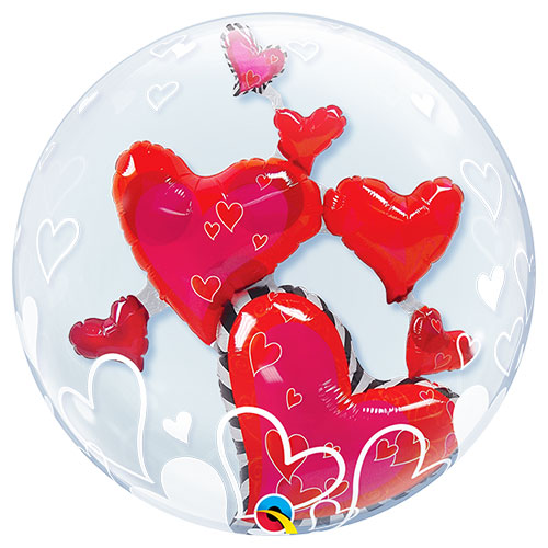 Lovely Floating Hearts Valentine's Day Double Bubble Helium Qualatex Balloon 61cm / 24 in